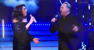 "Jamie performing with Jane McDonald on ""Jane and Friends."""